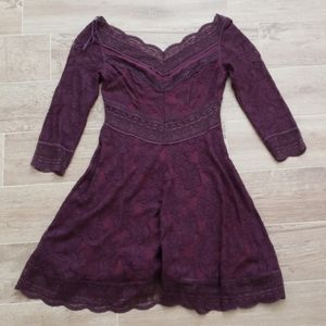 Free People lace lacey affair Plum dress small s